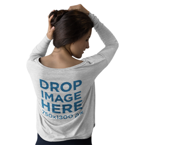 Long Sleeve T-Shirt Mockup of a Girl Grabbing her Hair b9970