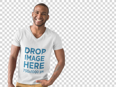 T-Shirt Mockup of a Handsome Smiling Man at a Photo Studio a9817