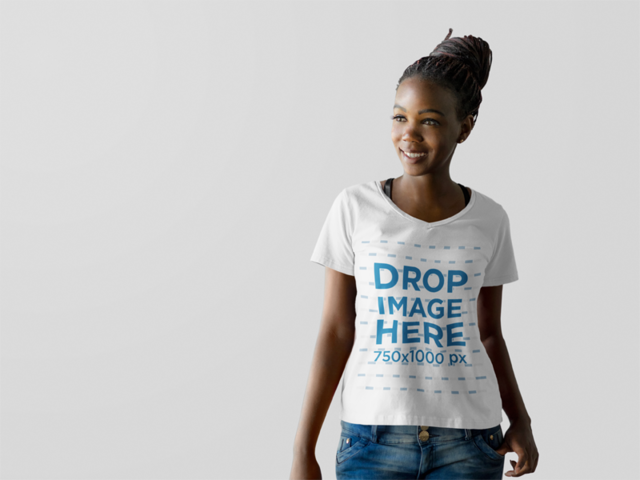 Beautiful Black Woman at a Photo Studio T-Shirt Mockup r9838