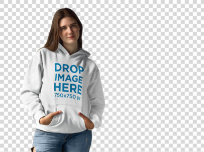 Hoodie Mockup of a Smiling Young Woman at a Photo Studio a9943
