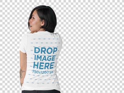 T-Shirt Mockup of a Tattooed Girl at a Photo Studio b10130