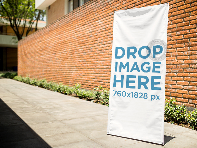 Mockup Template of a Banner on a Sidewalk