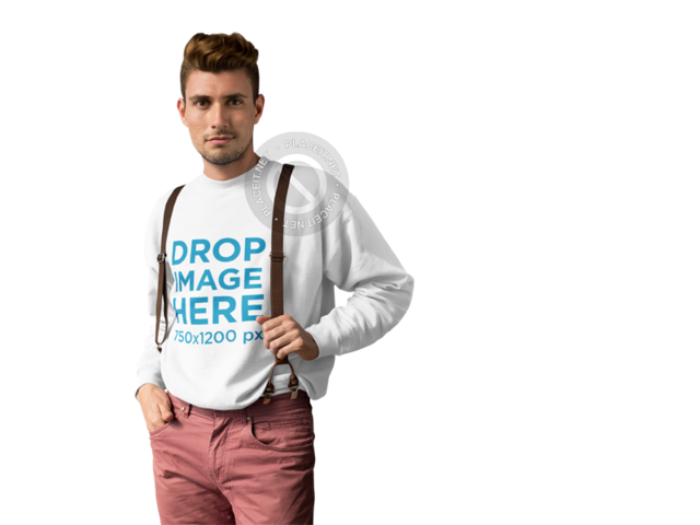 Crewneck Mockup of a Young Man Wearing Suspenders a10005