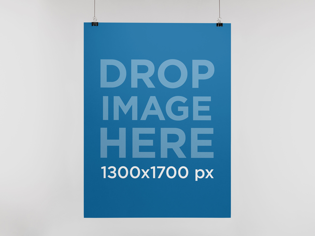 Poster Mockup Hanging On A Thread With Two Black Clips a10324