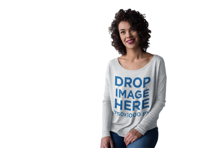 Bella Long Sleeve T-Shirt Mockup of a Smiling Curly-Haired Woman a10262