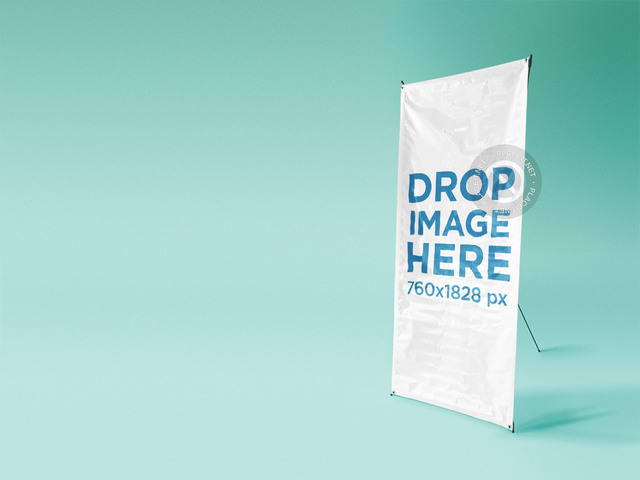 Banner Mockup At a Photo Studio Over a Solid Backdrop a10365