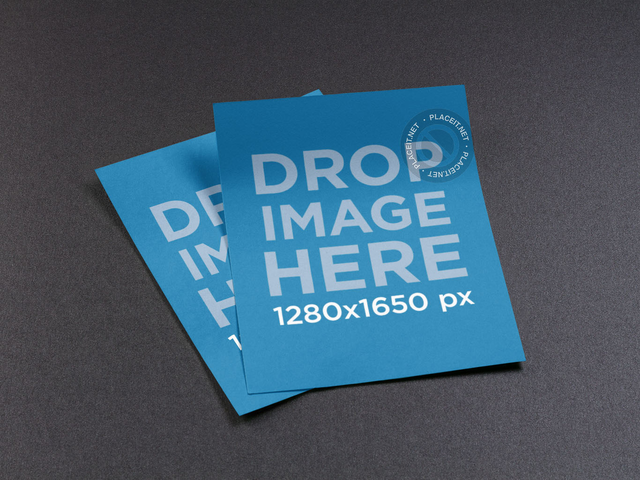 Mockup Template of a Set of Flyers Lying Over a Solid Backdrop a10372