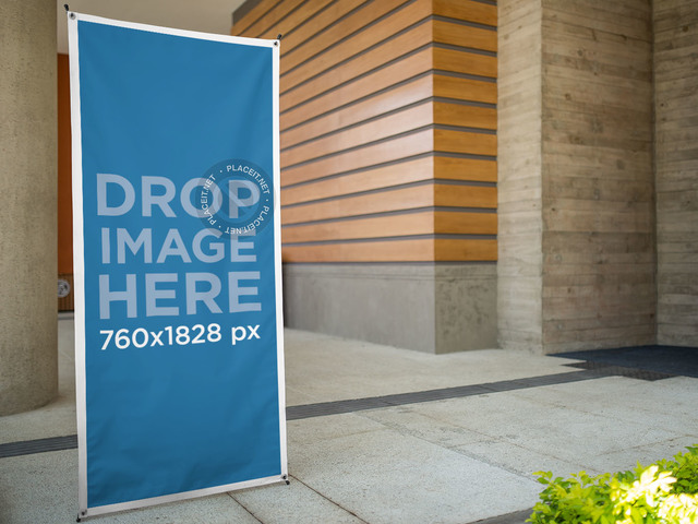 Vertical Banner Mockup at a High School a10340