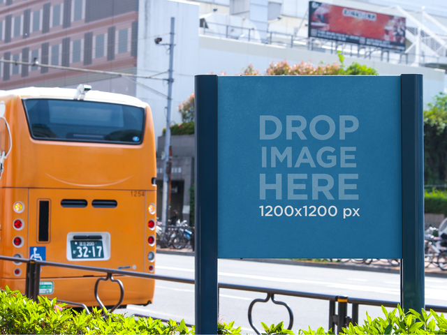 Billboard Mockup at a Bus Stop a10468