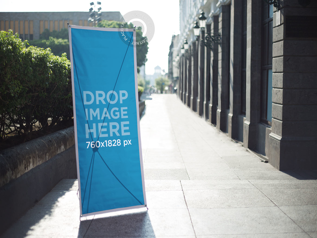 Vertical Banner Mockup in an Urban Environment a10335