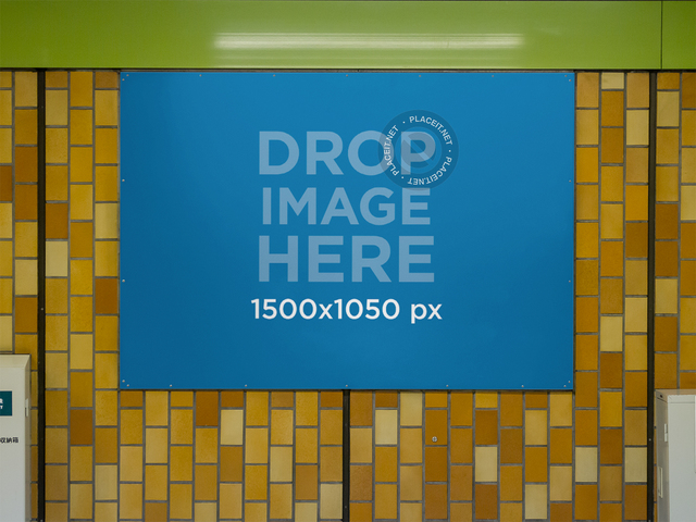 Banner Mockup Nailed to a Subway Station Wall a10473