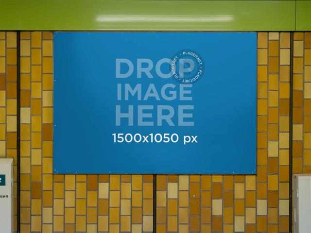 Banner Mockup Nailed to a Subway Station Wall