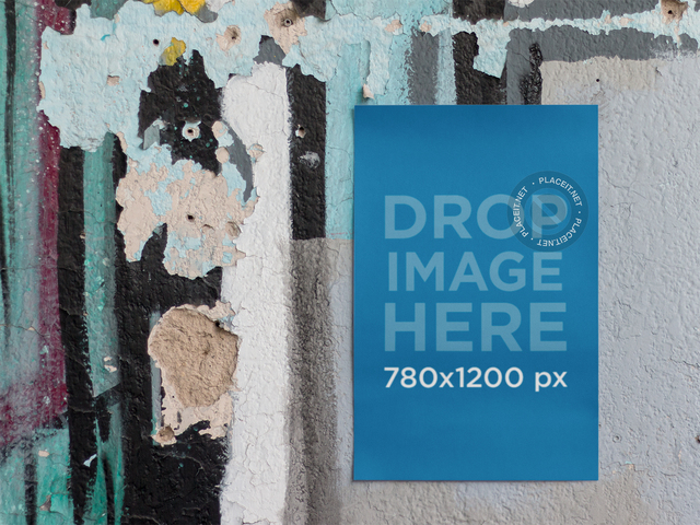 Mockup Template of a Poster Taped to an Old Wall a10407