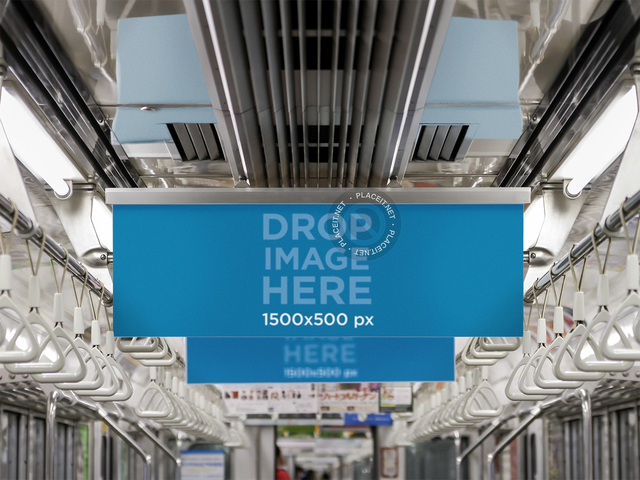 Horizontal Banner Mockup Inside a Subway Car a10460