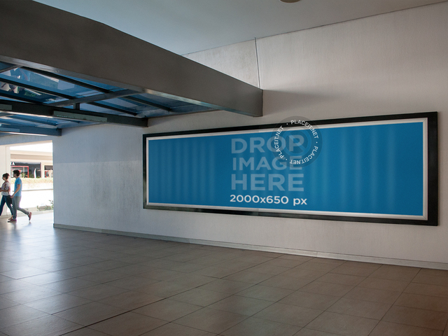 Horizontal Banner Mockup at a Mall a10511