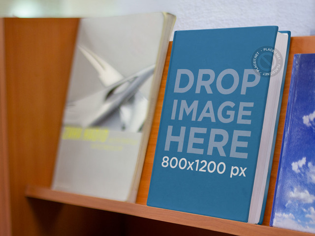 E-Book Mockup Standing on a Shelf at a Bookstore b9890