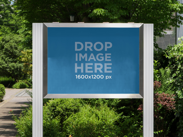 Horizontal Banner Mockup at a Botanical Garden a10475