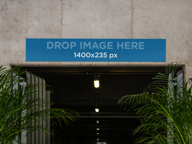 Horizontal Banner Mockup at the Entrance of a Parking Lot a10538