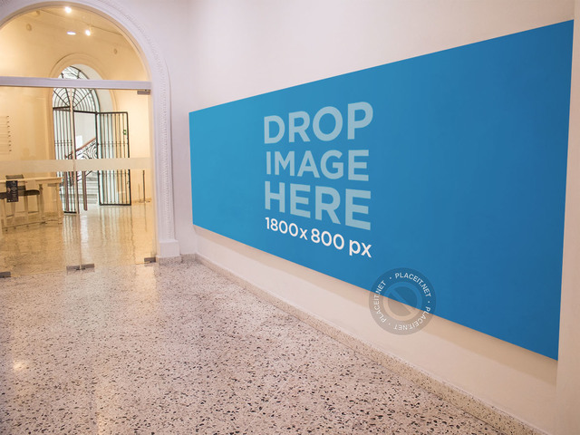 Horizontal Banner Mockup at an Art Museum a10570