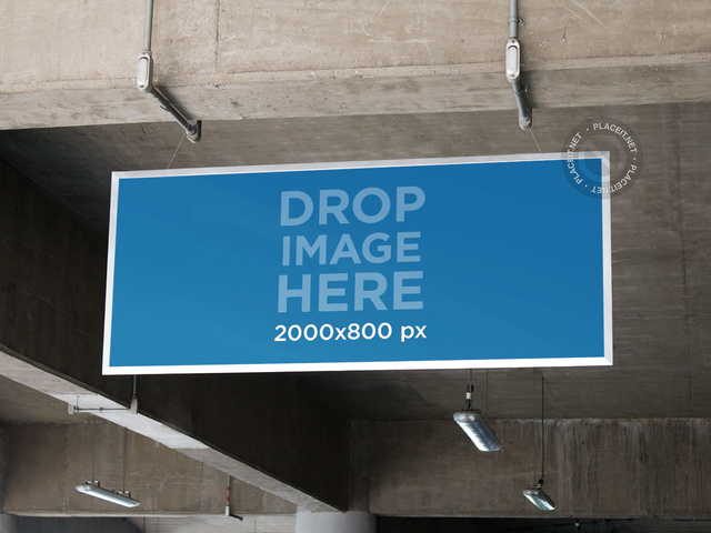 Placeit Banner Mockup Hanging From A Parking Lot Ceiling