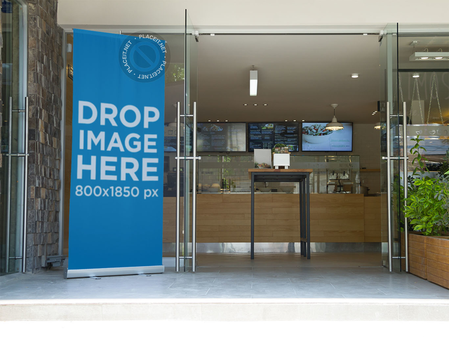 Vertical Banner Mockup at a Restaurant's Entrance a10526