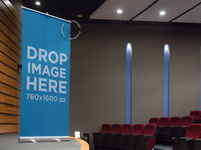 Vertical Banner Mockup in an Auditorium Stage a10585