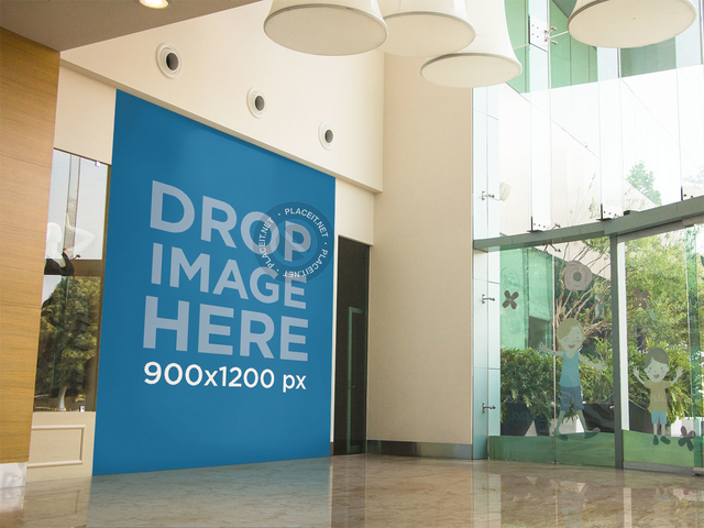 Horizontal Banner Mockup Outside a Store at a Mall a10602
