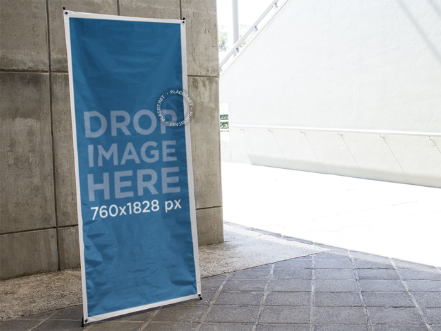 Vertical Banner Mockup at an Office Building a10388