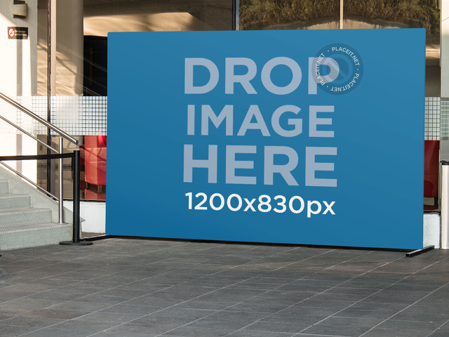 Horizontal Banner Mockup Outside a Theater a10530