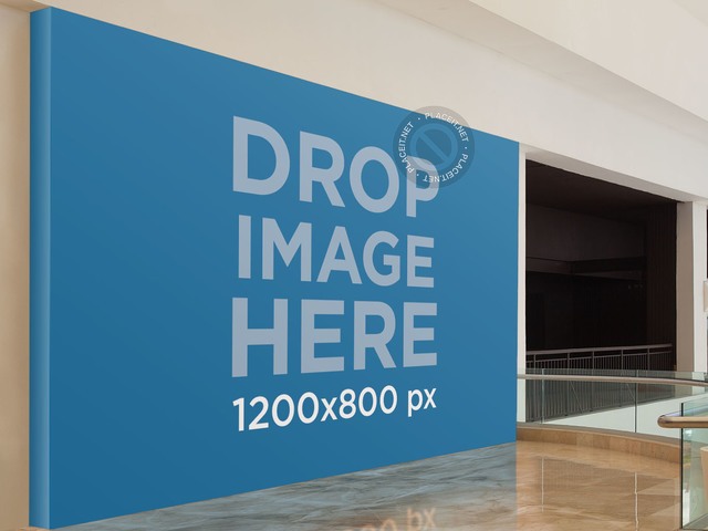 Horizontal Banner Mockup at a Mall a10646