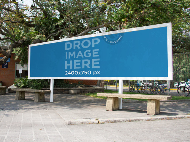 Horizontal Banner Mockup at a University Campus a10571