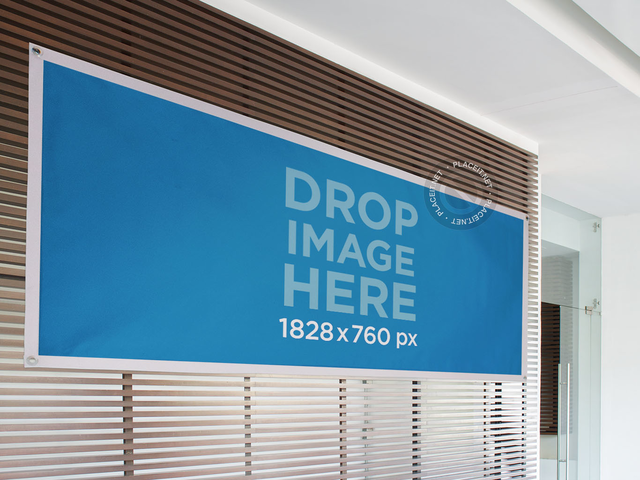 Horizontal Banner Mockup Tied to a Wooden Wall a10630