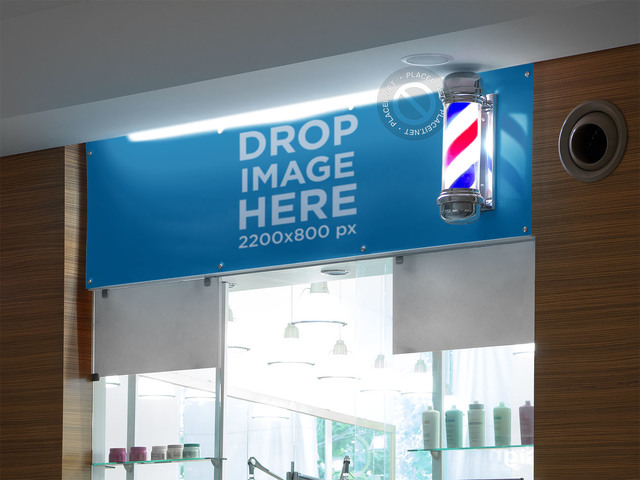 Horizontal Banner Mockup at a Barber Shop a10595