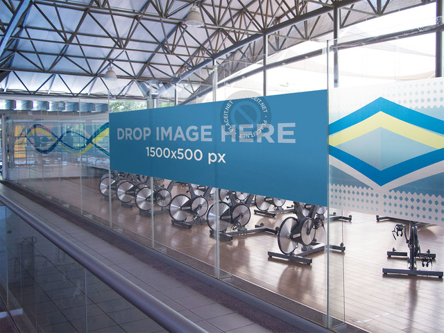 Horizontal Banner Mockup at a Gym a10608