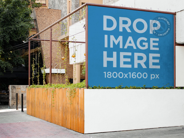 Horizontal Banner Mockup Outside a Modern Restaurant a10624