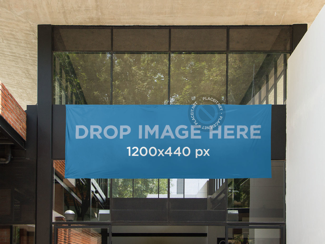 Horizontal Banner Mockup at a Cafeteria's Entrance a10586