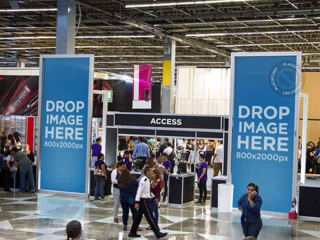 Mockup Template of a Set of Banners at an Expo's Entrance a10675