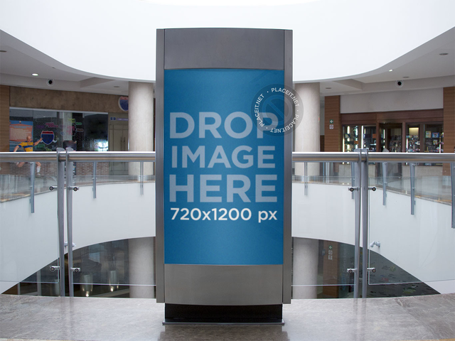 Small Billboard Mockup Inside a Shopping Mall a10600