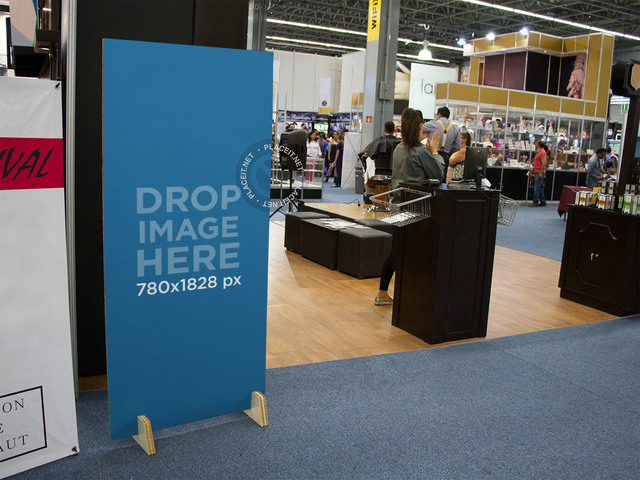 Vertical Banner Mockup at a Beauty Trade Show a10689