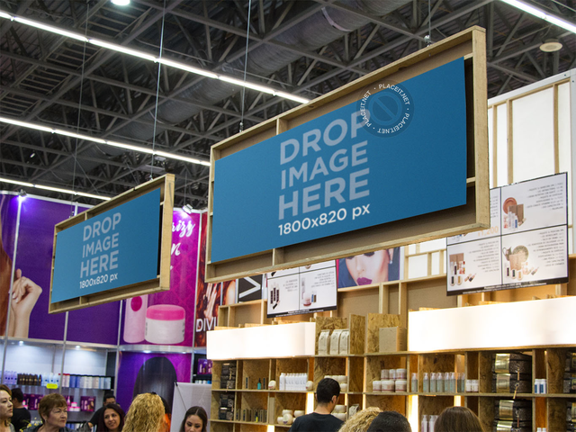 Mockup Template of a Set of Banners at a Beauty Expo a10681