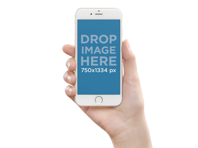 White iPhone Mockup Being Held Over a Flat Backdrop a10764