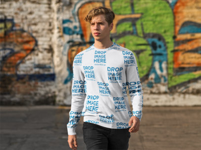 Crewneck Mockup Featuring a Young Man in a Parking Lot a9068