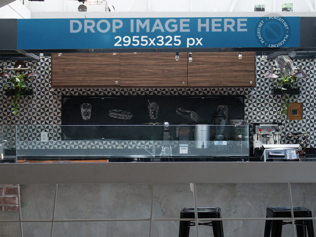 Horizontal Banner Mockup at a Fast Food Restaurant a10848