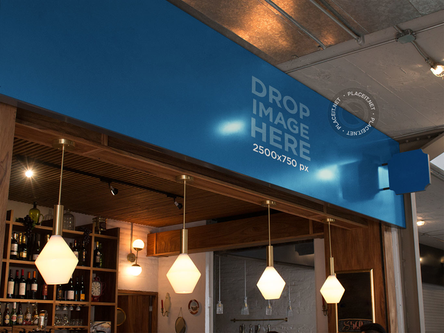 Horizontal Banner Mockup at a Modern Coffee Shop a10833