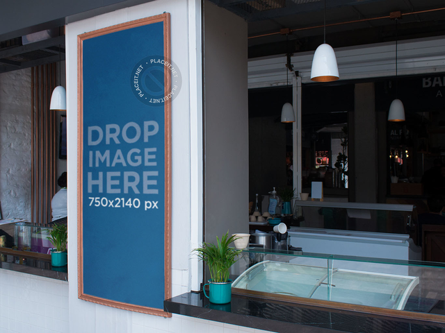 Vertical Banner Mockup at an Ice Cream Parlor a10841