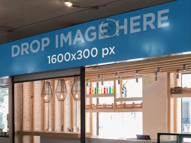 Horizontal Banner Mockup at a Shopping Mall Food Court a10842