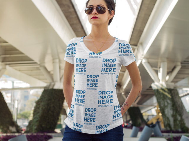 Sublimated T-Shirt Mockup at an Urban Environment a8793