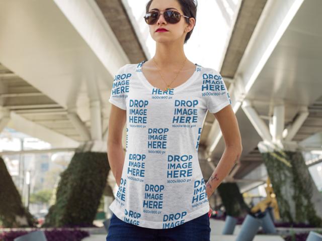 Sublimated T-Shirt Mockup at an Urban Environment a8793