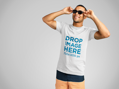 T-Shirt Mockup of a Handsome Black Man Wearing Sunglasses a11135