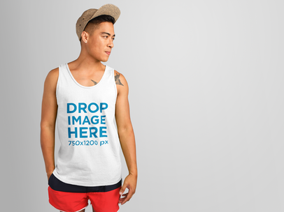 Tank Top Mockup of an Asian Man in a Summer Outfit 11158